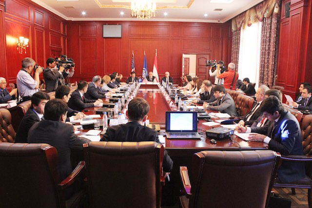 Employees of Tajikistan embassies and consulates abroad participate at the training on combatting human trafficking. Dushanbe, 01 June 2016. Photo by Abdulfattoh Shafiev
