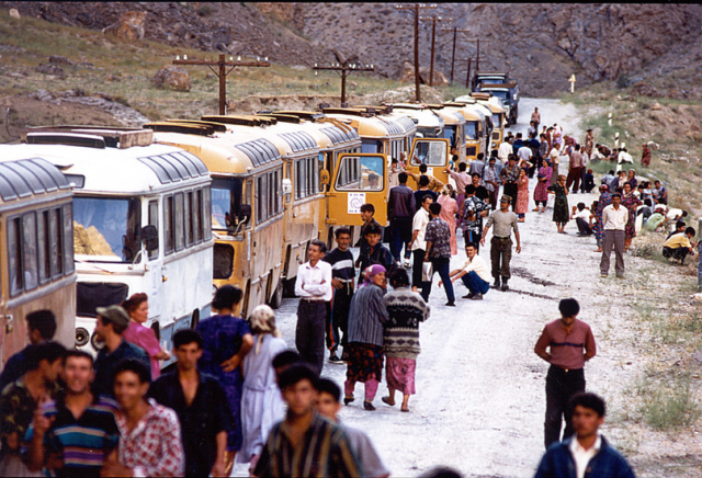 IOM IDP convoy travelling from Khorog to Dushanbe in 1995 during the civil war.
